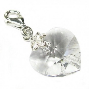 Sterling Silver Swarovski Elements Clear April Simulated Birthstone European Lobster Style Charm - C0115H3LQ23