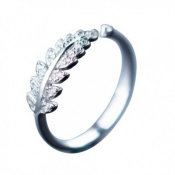 Silver Sakura Cherry Blossoms Leaf Laurel Branch Open Finger Adjustable Ring - C5186ARNXK4