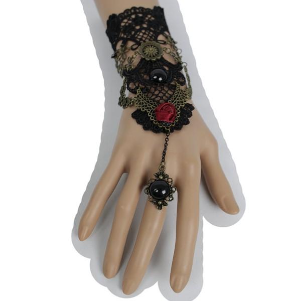 TFJ Women Fashion Jewelry Antique Gold Metal Hand Chain Wrist Bracelet Red Flower Slave Ring Black Lace Steampunk - CQ12CPHJFVR