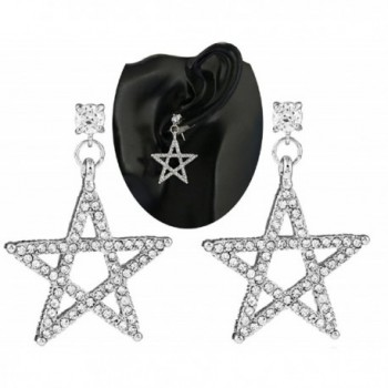 SUNSCSC 1 Pair Clear Crystal Rhinestone Moon Star Dangle Drop Link Cuff Stud Earrings Silver - Two Star - CR182EKT3YT