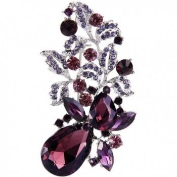 EVER FAITH Silver-Tone Purple Austrian Crystal Flower Leaf Teardrop Brooch - CG12FZ12T13
