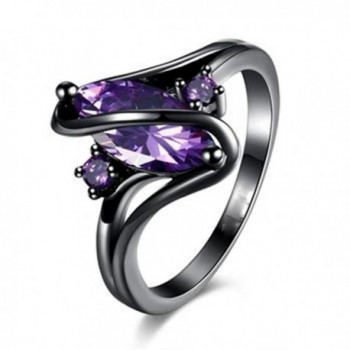 S Shape Purple Zircon Inlay Ring Black Gun Plated Alloy Band Rings - alloy - C612O443OUQ