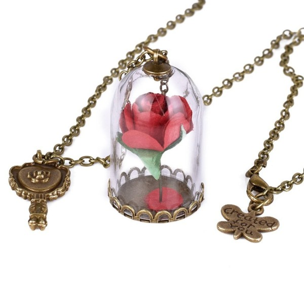 Womens Girls Beauty and the Beast Rose in Glass Dome Enchanted Rose Necklace Jewelry Belle Cosplay - Red - C417YZSWQEU
