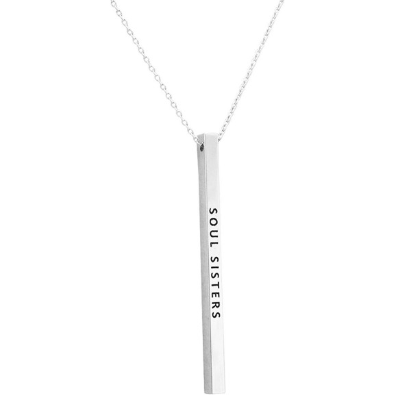 "Rosemarie Collections Women's Simple Vertical Bar Pendant Necklace ""Soul Sisters"" - Silver Tone - CW184Y6A6N2"