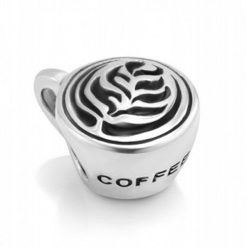 925 Sterling Silver Latte art Coffee Cup Bead Charm Fit Major Brand Bracelet - Leaf - CD11DM5NARB