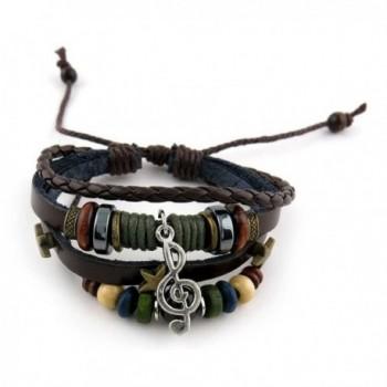 1 Piece Women's Men's Fashion Strand Bracelet Leather Handmade 2098 Beads Music Symbol Braided Bangle - CQ11VSPJ03L