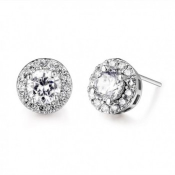 GULICX Fashion Jewelry Classic Round White Clear Zircon White Gold Tone Party Huggie Stud Earrings - CZ121E5WAO9