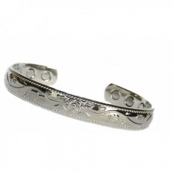 Women's Silver Plated Copper 6 Magnet Magnetic Therapy Ladies Bracelet - CV12G0JTBPB