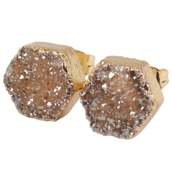 JAB 1 Pair Gold Plated Hexagon Natural Agate Titanium Druzy Post Stud Earrings for Women G0907 - champagne - C212M2G2W5R