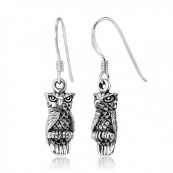 "925 Stelring Silver Detailed Vintage Owl Dangle Hook Earrings for Women 1.2"" - CO1234YG649"