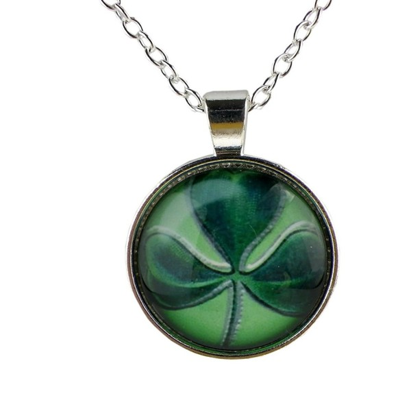 Rosemarie Collections Women's Antique Style Lucky Shamrock Charm Necklace - Silver Tone - C411SK3YZNT