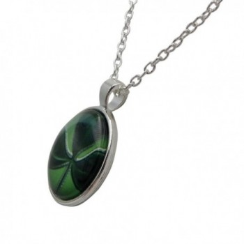 Rosemarie Collections Shamrock Cabochon Necklace in Women's Pendants