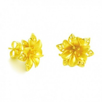 LHS Royal Golden Flower Earrings Women 24k Yellow Gold Plated Wedding Party Birthday Gift - CM12NRPZTFY