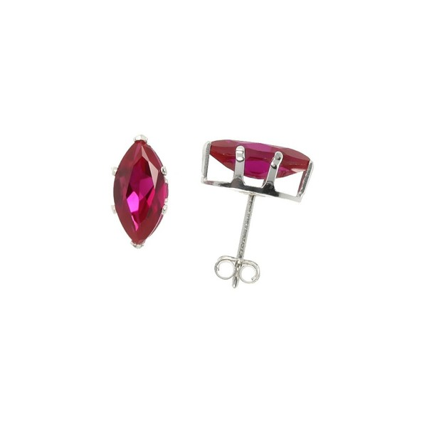 Sterling Silver Cubic Zirconia Marquise Ruby Earrings Studs Red Color 2 carat/pair - CL111CE4U6P