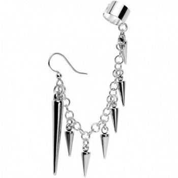 Body Candy Handcrafted Silver Plated Studded Spike Fish Hook Earring to Ear Cuff Chain Set - C712E9UU6NJ