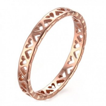 Stainless Steel Tiny Hollow Hearts Band Ring-3mm Rose Gold-Size 5 - C4184C4NHWC