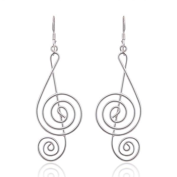 925 Sterling Silver Light Wire 45 mm Long G-Clef Music Note Dangle Hook Earrings - C311LWHSBRV