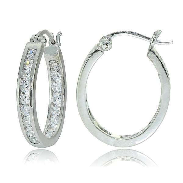 Sterling Silver Cubic Zirconia Channel-Set Inside-Out Oval Hoop Earrings - Sterling Silver - CI12MXJVS68