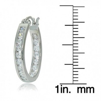 Sterling Zirconia Channel Set Inside Out Earrings in Women's Hoop Earrings