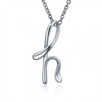 Bling Jewelry Sterling Silver Letter H Script Initial Pendant Necklace 18 inches - CY114G1V1DL