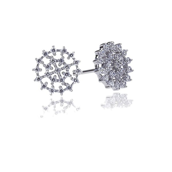 Rhodium Plated Sterling Silver Round CZ Setting Abstract Flower Stud Earrings - C311F9XUKM3