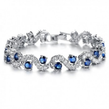 Starista Platinum Plated Blue Cubic Zirconia Bangle Bracelet for Women Luxury Wedding Accessory - CH12CFIZPZ1