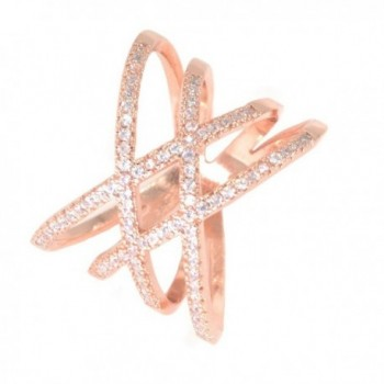 Rose Gold Double Criss Cross Ring CZ Pave Crossover Fashion Band Size 6 7 8 9 - CF182ZLKILD