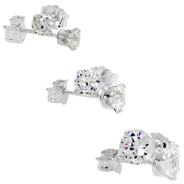3 Pair Set Sterling Silver Cubic Zirconia Earrings Studs 3- 4 and 5mm - CS115M98Z5X