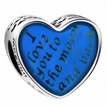 "925 Sterling Silver ""I Love You To The Moon and Back"" Heart Charms for European Bracelets Snake Chain - Blue - C7183GSCU67"