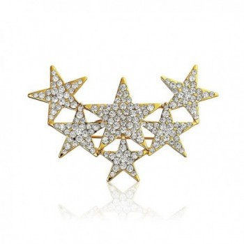 Bling Jewelry Clear Crystal Holiday Stars Scarf Pin Brooch Gold Plated - CQ11RIDNNIF
