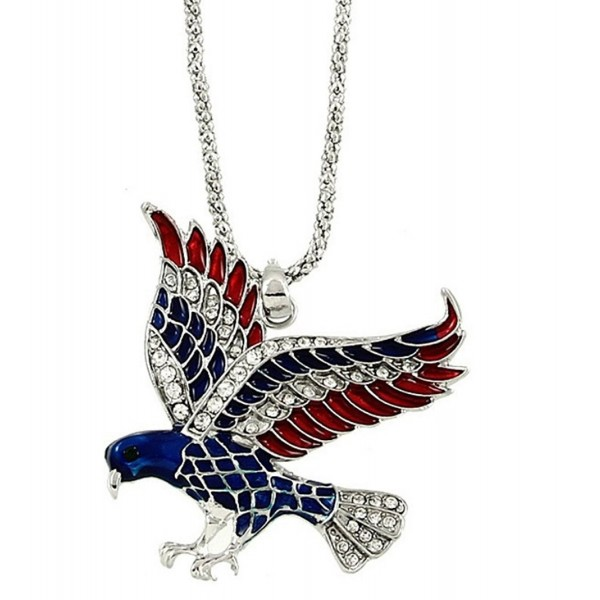 DianaL Boutique Silver Tone American Eagle Necklace Flag Color Enamel and Crystals Gift Boxed - C5126FMLJPX