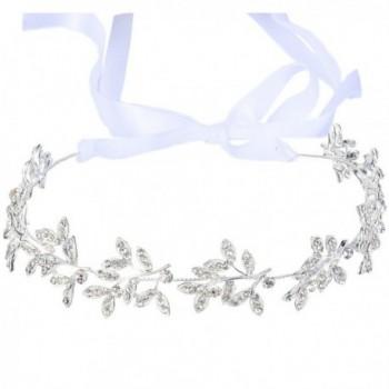 BriLove Women's Bohemian Bridal Olive Leaf Romantic Bendable Ribbon Tie Headband Hair Vine Accessory - CE124MFQDHT
