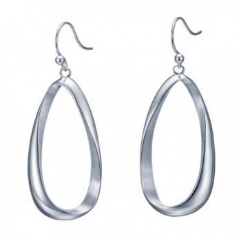 SILVERAGE Sterling Silver Twisted Hoop Earrings Oval Round Dangle Teardrop Earrings For Women - CM12JFSKWGB