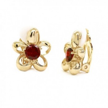 Red CZ Flower Clip on Earrings Gold Plated Women Fashion - CQ12CE2OI9H