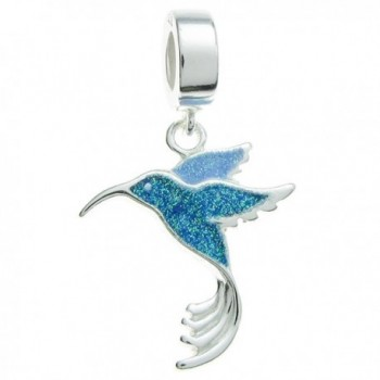 Sterling Silver Hummingbird Enamel European Style Dangle Bead Charm - CX11A0MM4HV