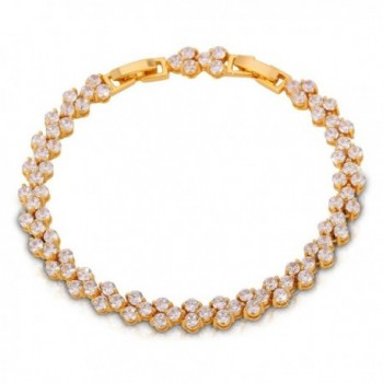 U7 Fashion Link 2-Prong Setting White Cubic Zirconia Bracelet Tennis- Fit 6.7 Inch to 8 Inch - CV11TBWJX7B
