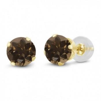 1.60 Ct Round 6mm Brown Smoky Quartz 14K Yellow Gold Stud Women's Earrings - CM11H7OG75V