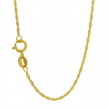 "JewelStop 10k Solid Yellow Gold 1 mm Singapore Chain Necklace- Spring Ring Clasp - 20"" - CX11XVS5QYZ"