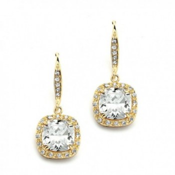 Mariell 14K Gold Plated CZ Dangle Earrings with Cushion-Cut Halos - Great Wedding or Bridesmaid Drops - CE11ZP6UFCT