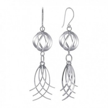 Gem Avenue 925 Sterling Silver Twisted Sphere Swirl Design French wire Dangle Earrings - CU11B1O29VJ