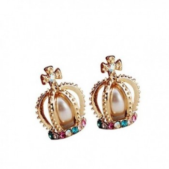 Crown Chaped Stud Earring with Colorful Crystal Artificial Pearl - C411G6DOWU1