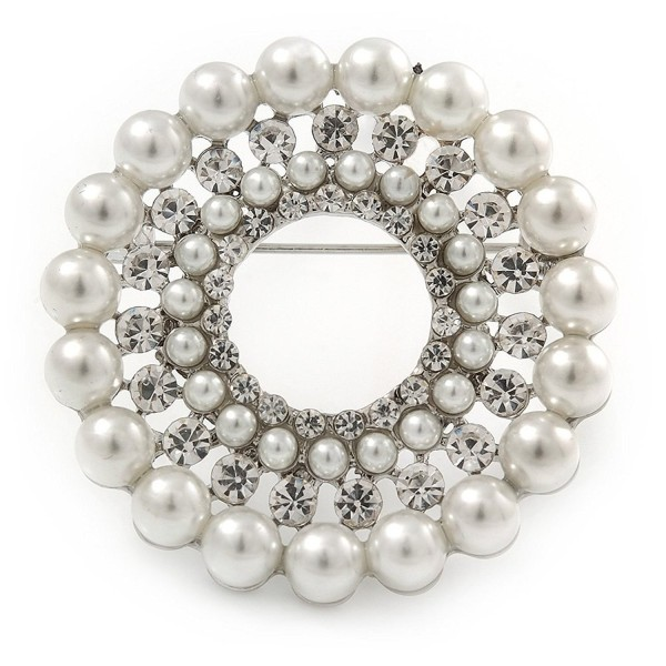 Clear Crystal- White Faux Glass Pearl Wreath Brooch In Silver Tone Metal - 40mm D - CN1856YAAG3