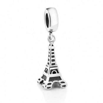 Sterling Silver Paris Eiffel Tower Bead Charm (Length:14mm Width: 8mm) - C3125IYJ9OR
