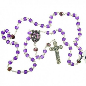 Our Lady Rosary with Purple Catseye Our Father Prayer Beads - CG11PH09HWH