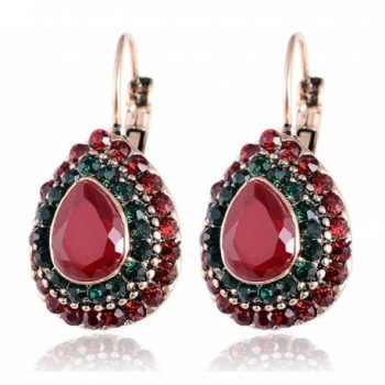 Menglina Fashion Ethnic Vintage Raindrop Shaped Stud Earrings With Resin and Crystal Inlaid - red - CY18332R630