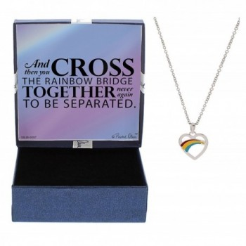 Pet Bereavement Gift Dog Cat Cross the Rainbow Bridge Silver-Tone Rainbow Heart Necklace Jewelry Box - C012NSFWXE7
