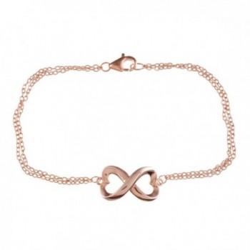 "Sterling Silver Rose-Gold Plated 7"" Extension Infinity Figure 8 Heart-Designed Bracelet - CT11C4ZKGR3"