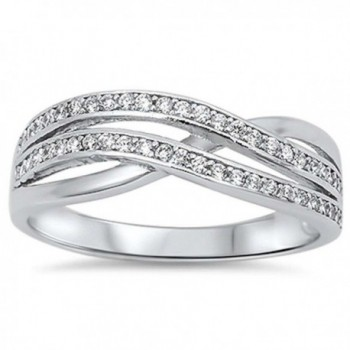 New Style Cubic Zirconia Infinity .925 Sterling Silver Ring Sizes 5-10 - C511N5PK0NL
