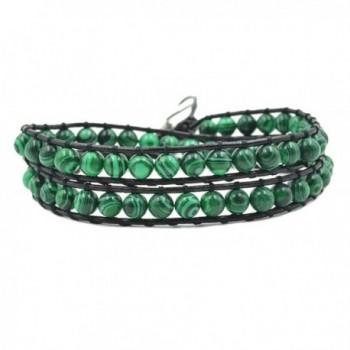Handmade Faux Leather Double Wrap Around Bead Bracelet Adjustable 6mm Green Malachite Round Stone - CI1859GYCC3