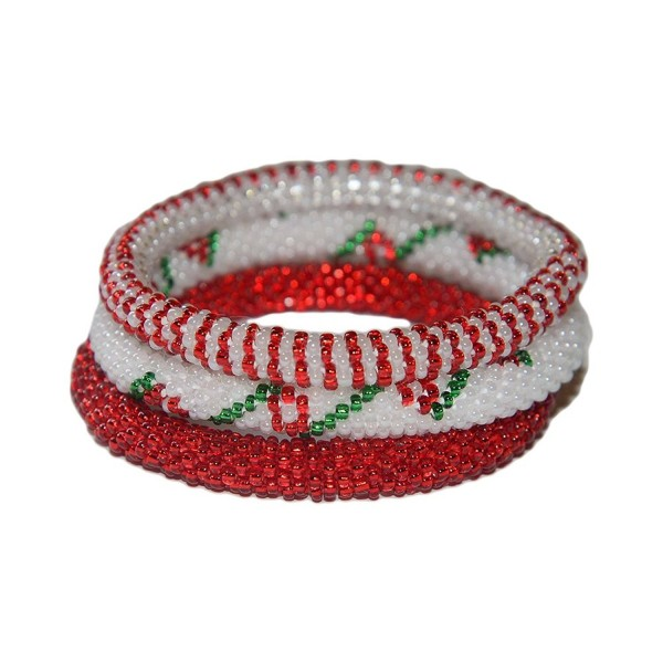 Red-Green-White Beaded Bracelets Set-seed Beads-nepal-roll on-flower - CR1207526FL